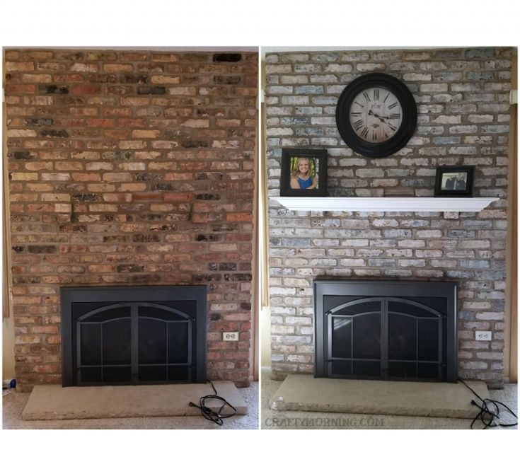 How To White Wash Brick Fireplace (Makeover