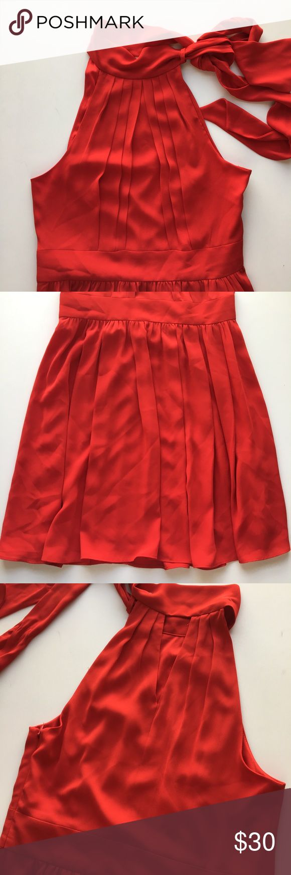 Express Ruby Red High-neck Dress Lovely tie-neck dress with gentle pleats and flowing skirt. Tight fitting waist and side-zipper. Made of 100% polyester. Only worn once and in great condition! Express Dresses Mini