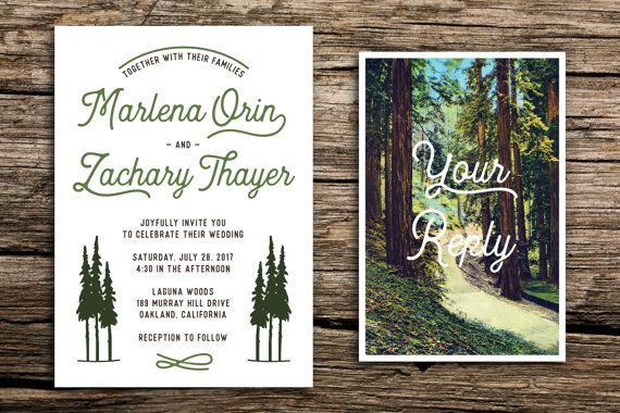 Celebrate your next great adventure with this retro redwoods wedding invitation set featuring redwood trees, arrow graphics and a vintage-inspired RSVP postcard. Perfect for a casual, outdoorsy wedding in northern California. The last photograph shows the details card, available for purchase separately, here: https://www.etsy.com/listing/211760267/medium-add-on-card-for-factory-made?  // PAPER AND PRINTING // Each invitation card measures 5 by 7 inches and each RSVP card measures 4 by 6…