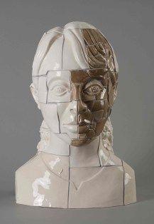 "Stephen Dixon, ""Restoration: Aung San Suu Kyi"" 2011, glaze, earthenware, decals…"