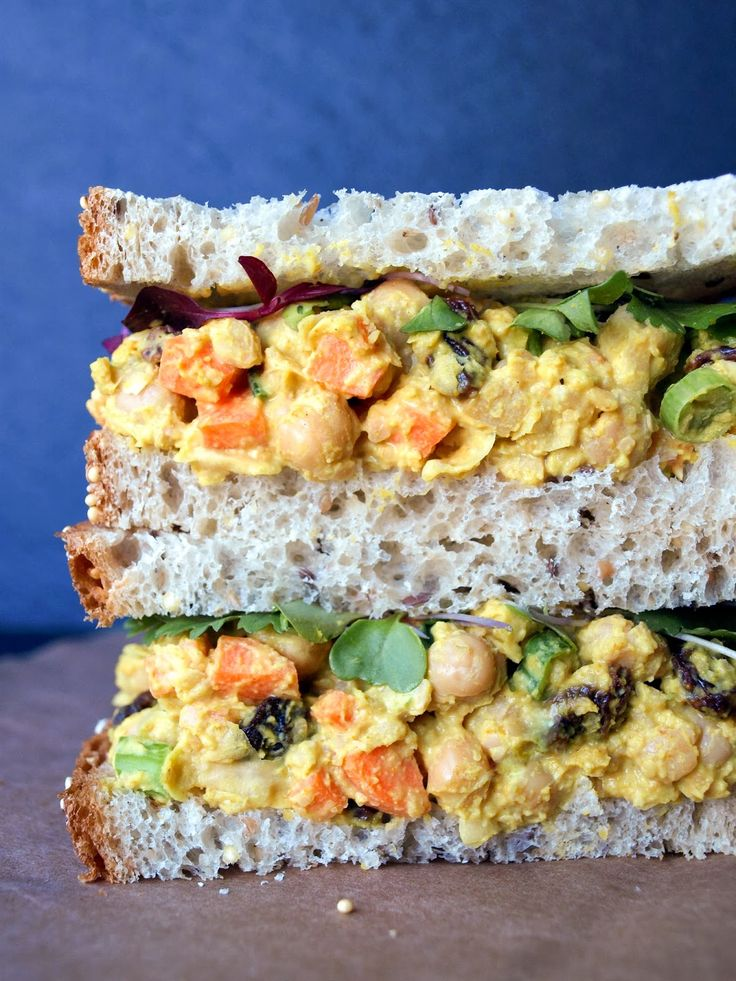 Curried Chickpea Salad Sandwich - protein without meat