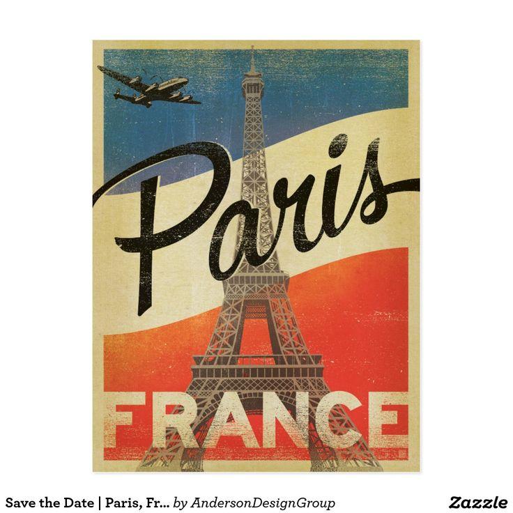 Salvar a data | Paris, France - bandeira Cartão Postal