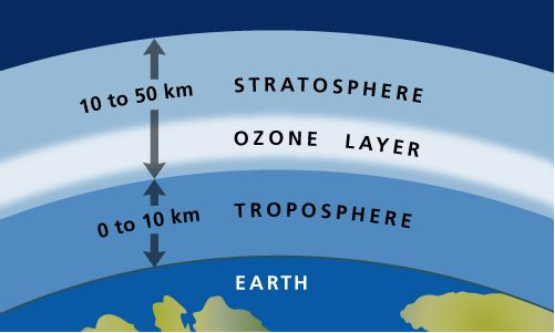 The 'ozone layer' is 12-20 miles above the Earth's surface and contains most of our ozone. https://www.facebook.com/scholarslearning/photos/a.744091828942643.1073741828.731990170152809/899415253410299/?type=1&theater