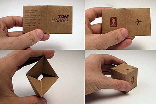 Love the way you can fiddle with this foldable cargo business card, good job to the designer who thought of this.