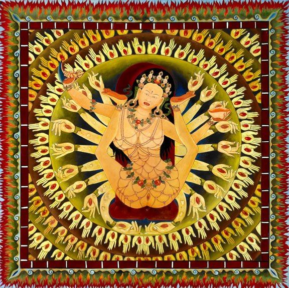 ratna dakini mamaki, sukhasiddhi- The womb door  song of sukhasiddhi   Kyé Ho! Sublime individual of excellent fortune, All gods and demons, [who are] the happiness and suffering of apparent existence, Are merely the false impressions of delusion. The entirety of the outer and inner world and its contents Do not exist, though they appear - they are emptiness. All outer phenomena are non-existent, haven't arisen, and haven't come into being. Look into that state and realize its nature!