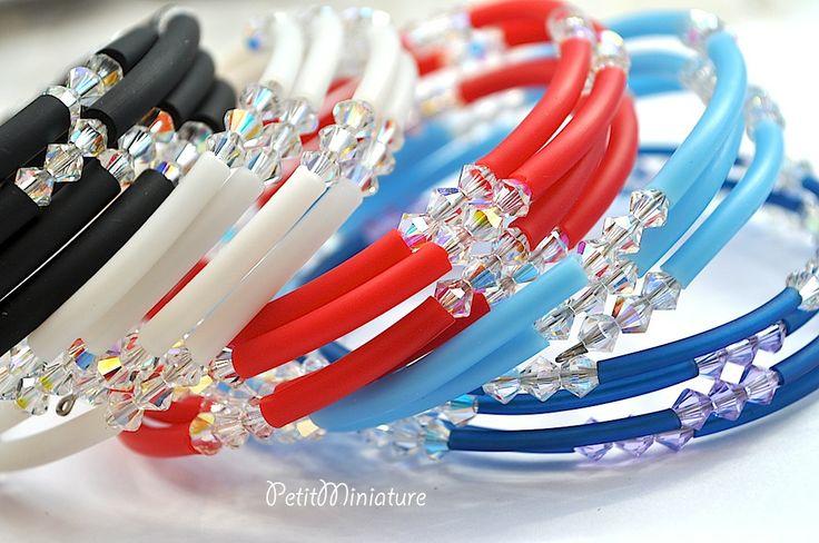Bracciale in silicone e swarovski bicono originali,bracciale a molla,silicone colorato,swarovski AB.