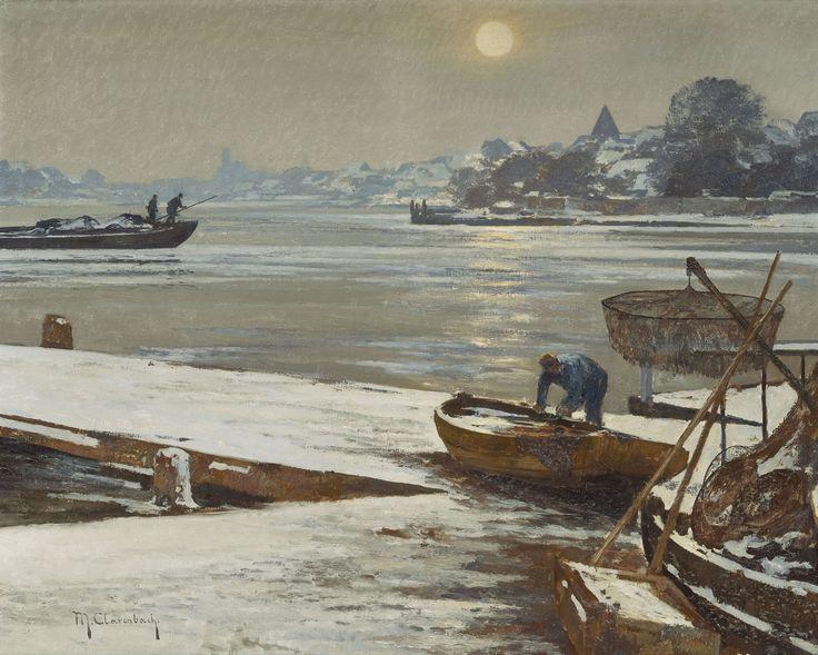 Max Clarenbach, WINTERLICHE FLUSSLANDSCHAFT, Auktion 977 Alte Kunst, Lot 1309
