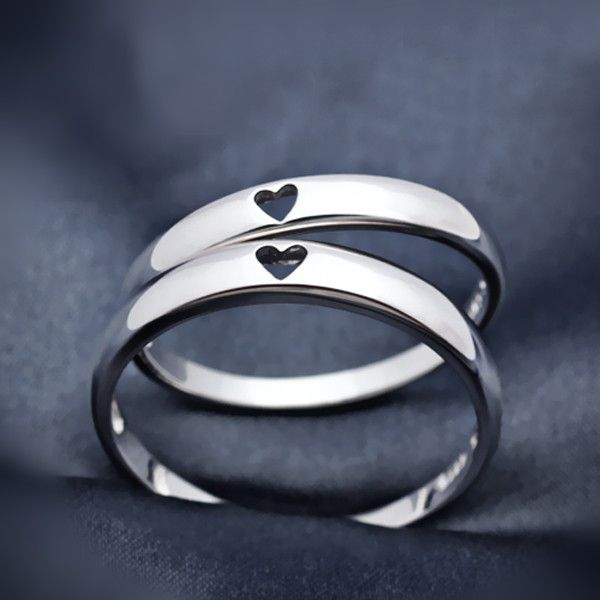 【Jewelry in My Box】Simple Style Heart to Heart 925 Silver Couples Matching Promise Rings(Price for a Pair)