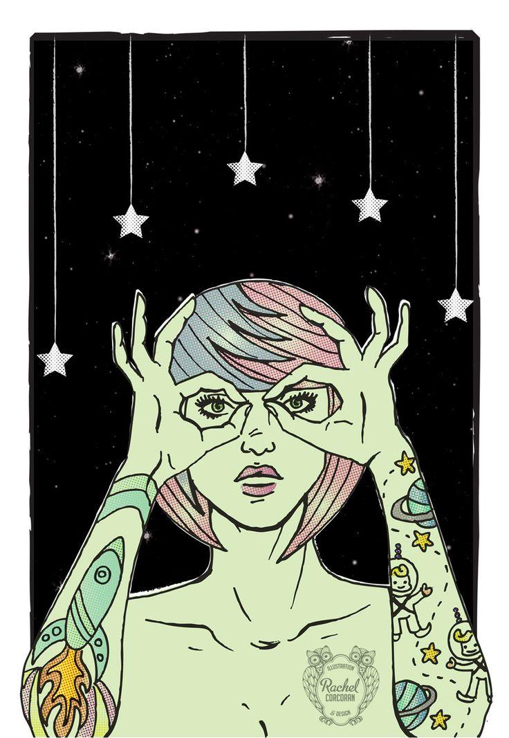 OUTER SPACE Alien Digital Poster by Rachel Corcoran  www.rachelcorcoran.net/shop