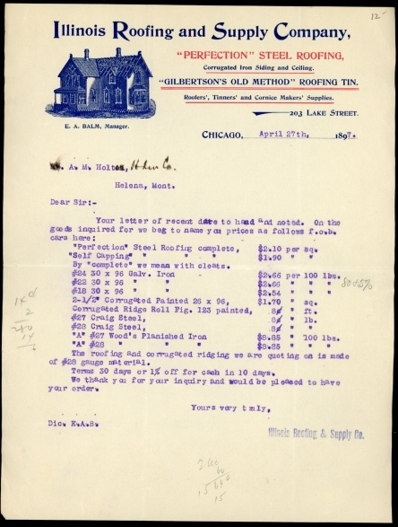 Old Letterhead Of The ILLINOIS ROOFING AND SUPPLY COMPANY  Helena Montana  Gilbertsonu0027s Old Methods Of