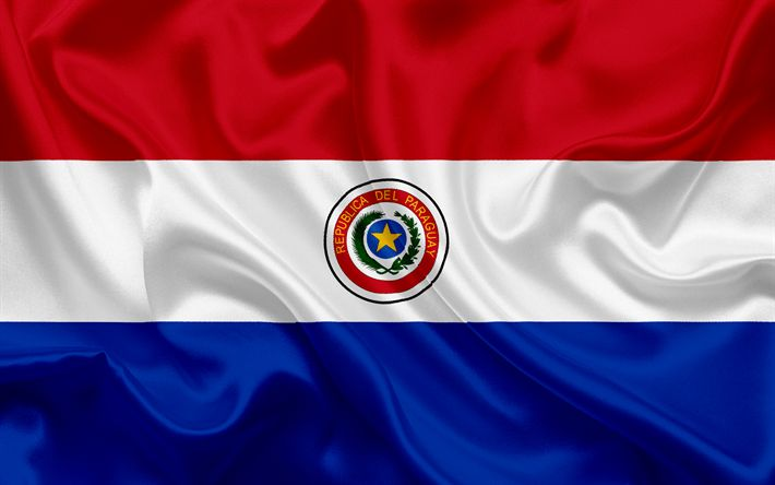 Download wallpapers Paraguayan flag, Paraguay, South Africa, national symbols, flag of Paraguay
