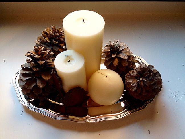 Preparaci n de un centro de mesa navide o primer paso for Centros navidenos con velas