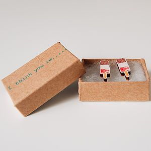Fab Lolly, I Think You're Fab Ice Lolly Earrings Wooden - women's jewellery