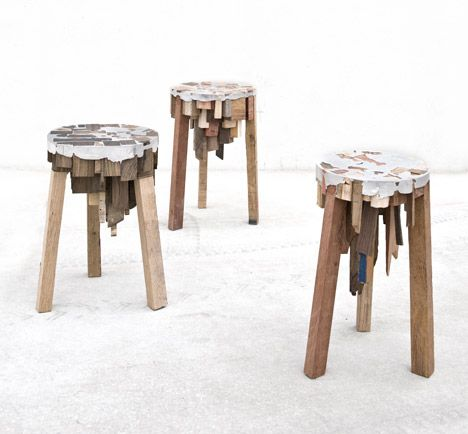 """Called Bits of Wood, the stools and table use offcuts from a saw mill and tin from the local recycling facilities. The pieces are packed tightly then fused together with the molten tin, so that the ends of the scrap become part of the seat or table top."" Dutch designer Pepe Heykoop"