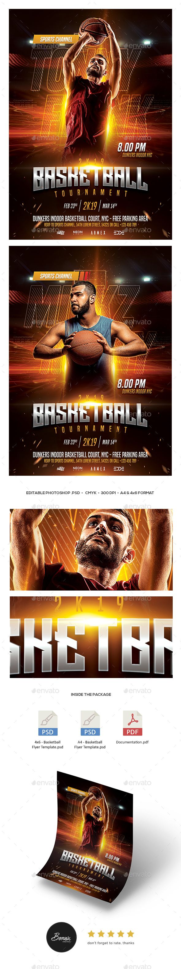 Basketball Flyer Template ¨C A premium Photoshop flyer template design perfect to promote your basketball match, basketball tournament, college basketball, basketball camp, streetball, or any basketball sport events. Available in 2 formats, A4 & 4x6 .psd flyer,