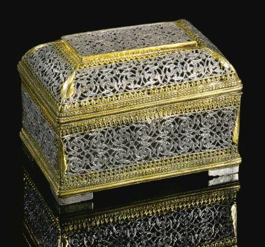 A silver-gilt box, probably a pandan (betel box), Deccan, 17th/18th century | lot | Sotheby's