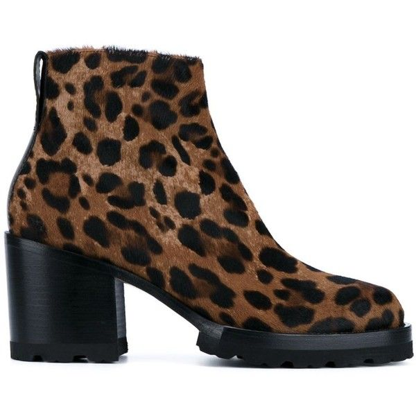 Dries Van Noten Leopard Print Ankle Boots (£490) ❤ liked on Polyvore featuring shoes, boots, ankle booties, brown, leopard ankle boots, brown ankle boots, leopard bootie, round toe ankle boots and bootie boots