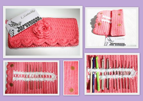 hook case - no pattern, but simple enough. body of basic crochet, pick your favorite, sc, hdc, or slip st, add some shell edging on one end. A ribbon of Bruges-style lace on the inside to hold the hooks, and an Irish croshet rose on the front - ta-dah!