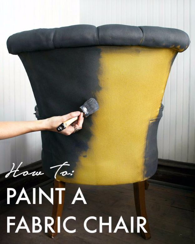 DIY Seating Ideas - Paint A Fabric Chair - Creative Indoor Furniture, Chairs and Easy Seat Projects for Living Room, Bedroom, Dorm and Kids Room. Cheap Projects for those On A Budget. Tutorials for Cushions, No Sew Covers and Benches http://diyjoy.com/diy-seating-chairs-ideas