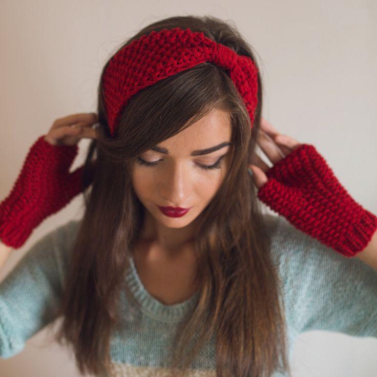 Red / Blue or Custom Color Hand Knit Headband, Womens Ear Warmer, Chunky Wool Headband, Warm Winter or Spring / Fall Turban