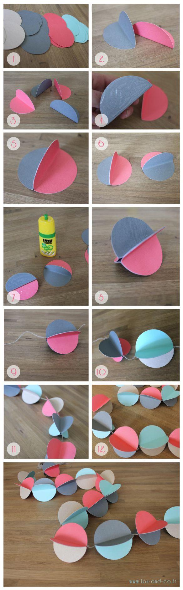 guirlande papier DIY, en lugar de cartulina usar rollos de ph. y pintar.