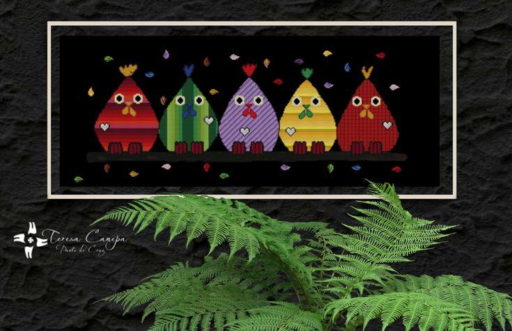 """✄ PATRON PUNTO CRUZ EN VENTA  """"Cocorocó""""  Para bordar con Hilos DMC  400 Puntos de Ancho  160 Puntos de Alto  Medida aprox, del bordado, si es en tela Aida de 14: 72,5 cm ancho x 29 cm de alto.  Patron basado en cuadro de la pintora Ester Steintjes http://puntocruzandino.weebly.com/"""