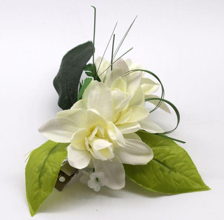 12.87$  Buy here - http://vieow.justgood.pw/vig/item.php?t=ph8k5622836 - Hawaii Hair Clip Lei Party Luau Tuberose Flower Dance Beach Photo White Green SQ