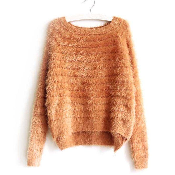 Women Cute Hairy Mohair Loose Sweater