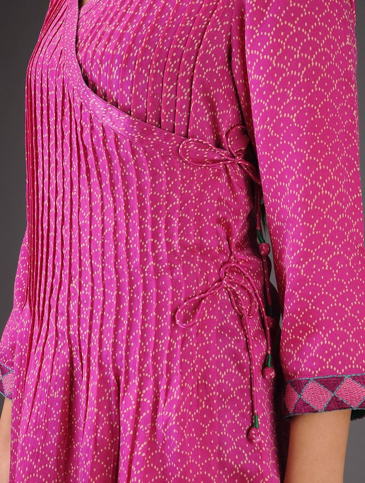 Pin-tucked angrakha tunic