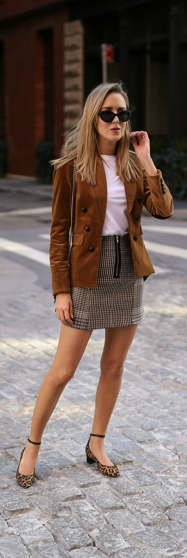 Trend Memo Day 5: Corduroy // Corduroy jacket, white short sleeve t-shirt, checked mini skirt, leopard print pumps {Veronica Beard, J Brand, Maje, tre…