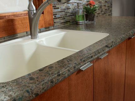 Wilsonart Hd Laminate Countertop Oak Cabinets Blue Brown Grey Glass Tile Backsplash Grey Tile Floors Lower Kitchen Pinterest Laminate Countertop
