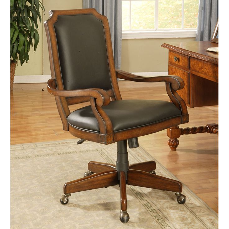 Classic Cherry Upholstered Desk Chair By Winners Only | Wooden Home Office  Caster Desk Leather Upholstered