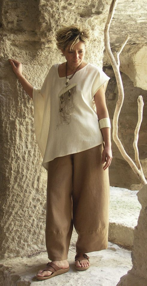 Originals silk clothes: Top made of raw silk natural color -:- AMALTHEE -:- n° 3073