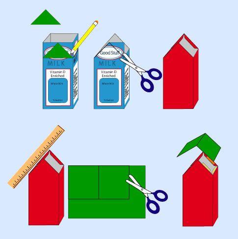 Como fazer casinha com caixa de leite
