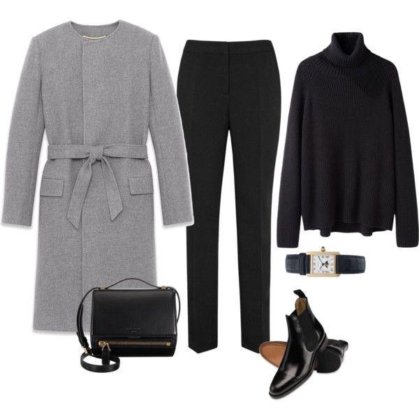 Skinny black pants, black long-sleeved tee, black short rain boots, black wool tie coat