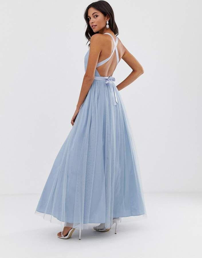 abf894d731 Asos Design ASOS DESIGN Premium Tulle Maxi Prom Dress With Ribbon Ties