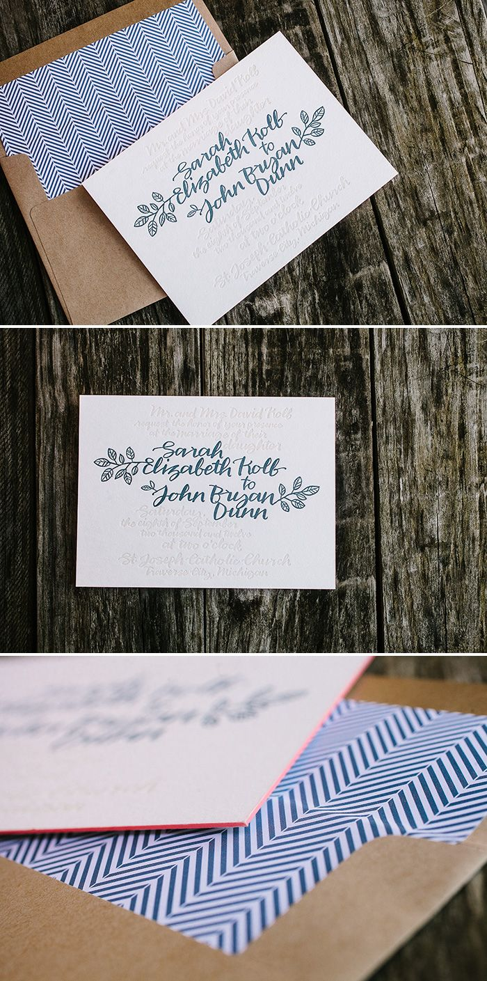 Homespun Inspired Calligraphy Letterpress Wedding Invitations