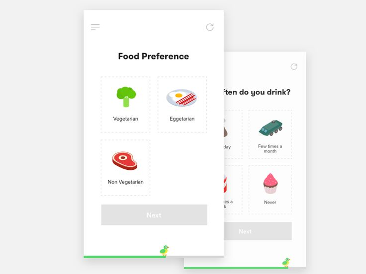 Screens to collect input from user about their eating habits. Wait for the animated version :) Meantime, check out the web dashboard Here Twitter | Instagram