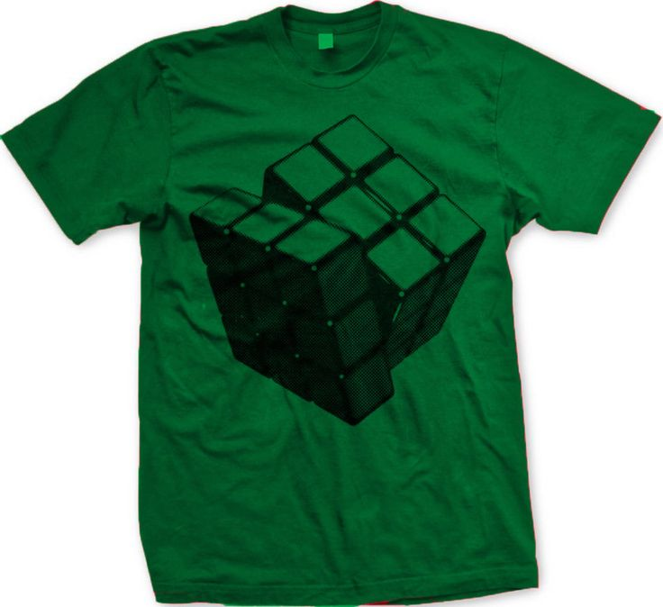Rubik's Cube Kelly GreenBlack Line Art Funny Games 80's Statements -Mens T-shirt #na #GraphicTee