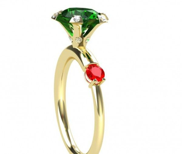 """"""" Flower Crown"""", custom engagement  ring. Yellow gold, emerald, ruby"""
