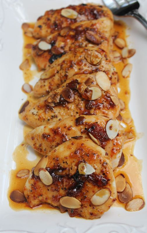 Apricot Chicken with Almonds | Bon Appetit | Pinterest