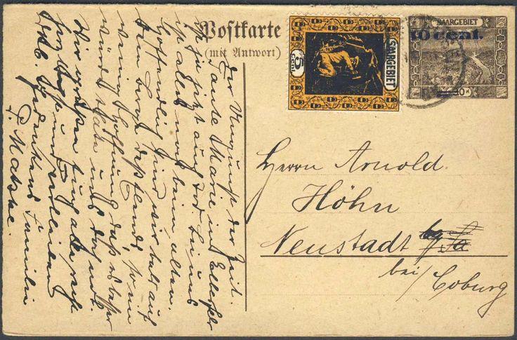 Germany, Saar, Saargebiet 1921, 10 Cent. auf 30 Pfg.-GA-Doppelkarte, mit Beifrankatur (5 Cent), von Camphausen nach Neustadt gelaufen (Mi.-Nr.P 12). Price Estimate (8/2016): 15 EUR.
