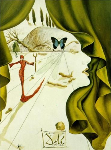 Portrait of Katharina Cornell - Salvador Dali. This has a similar butterfly as one of his 1969 Alice in wonderland paintings.