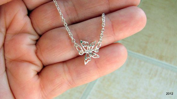 Anklet Tiny Sideways Butterfly Anklet Ankle by BellaDonnaJewelryCo, $15.00