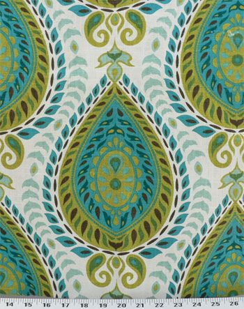 Shiraz Mediterranean | Teardrop design in chartreuse, peacock, turquoise, aqua, and green printed on a white linen blend background. Perfect for draperies, duvets and comforters, upholstery, pillows, and much more. Soft-medium drape. $16.98/yd