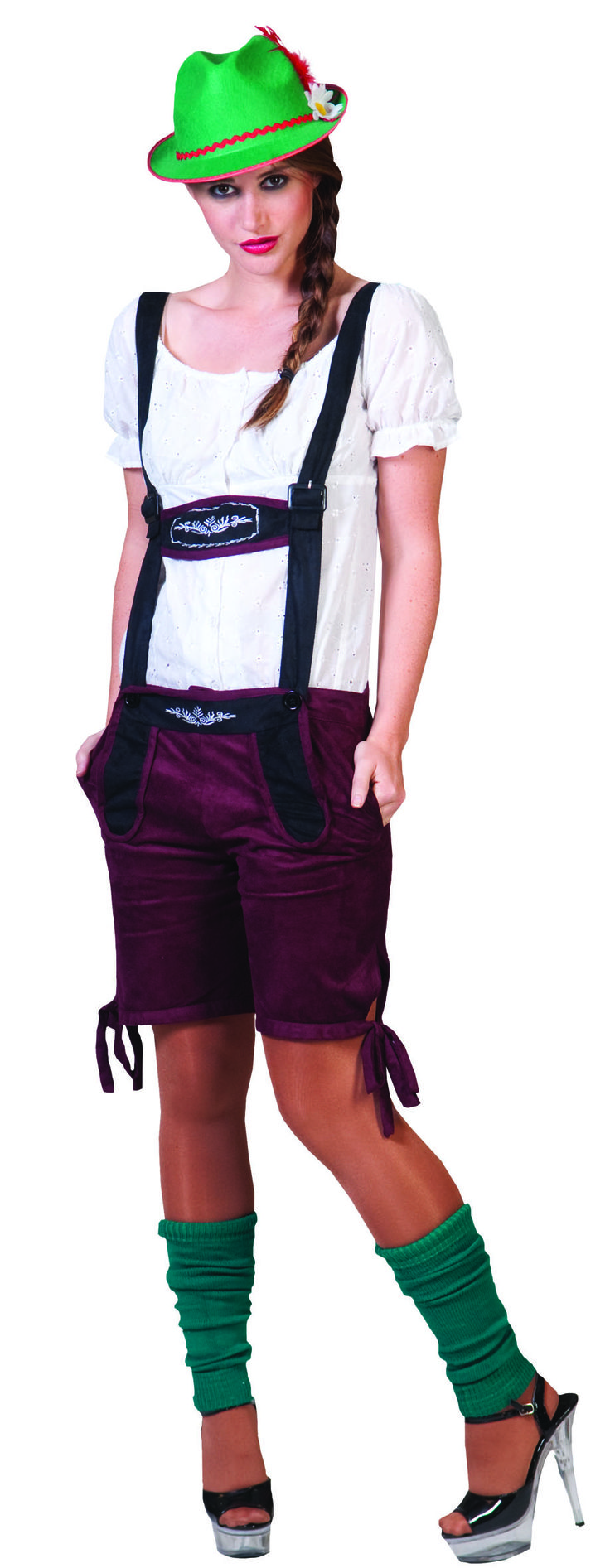 Munich Michaela Ladies Lederhosen - Wear this for Halloween, an Oktoberfest celebration or other costume parties and festivities. Check out the matching Men's Oktoberfest Lederhosen costume. This is a Munich Michaela traditional Bavarian Lederhosen outfit.  This two-piece Bavarian Oktoberfest costume has a blouse and cute lederhosen shorts with suspenders. The blouse is light embroidered fabric with a wide, elasticized scoop neck. #costumes #yyc #calgary #oktoberfest #lederhosen