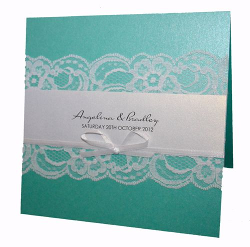 Tiffany Blue Invitation with white lace and ribbon from www.hootinvitations.com.au