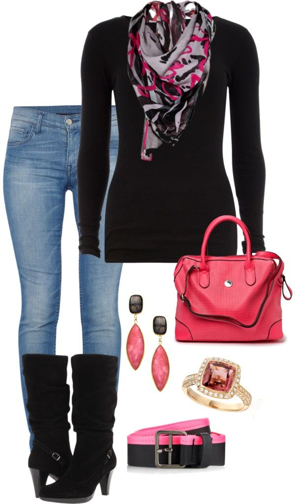 """""""Pink & Black"""" by damussel on Polyvore"""