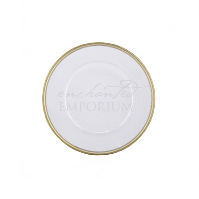 White with gold rim charger plate Hire, Enchanted Emporium