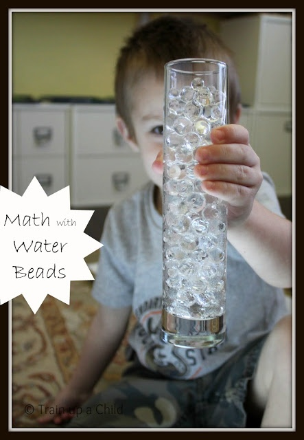 Hands on intro to subtraction with water beads, light, and PLAY.